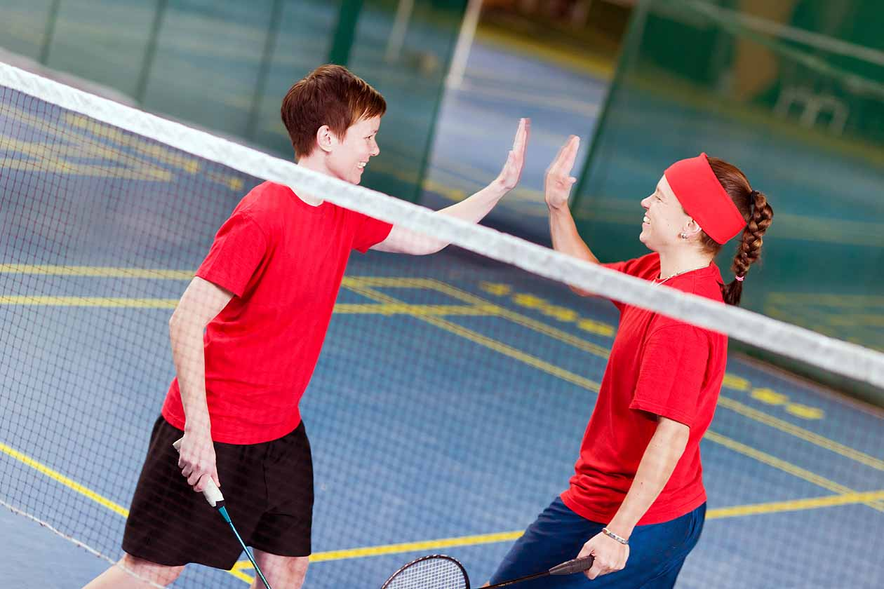 Young badminton players