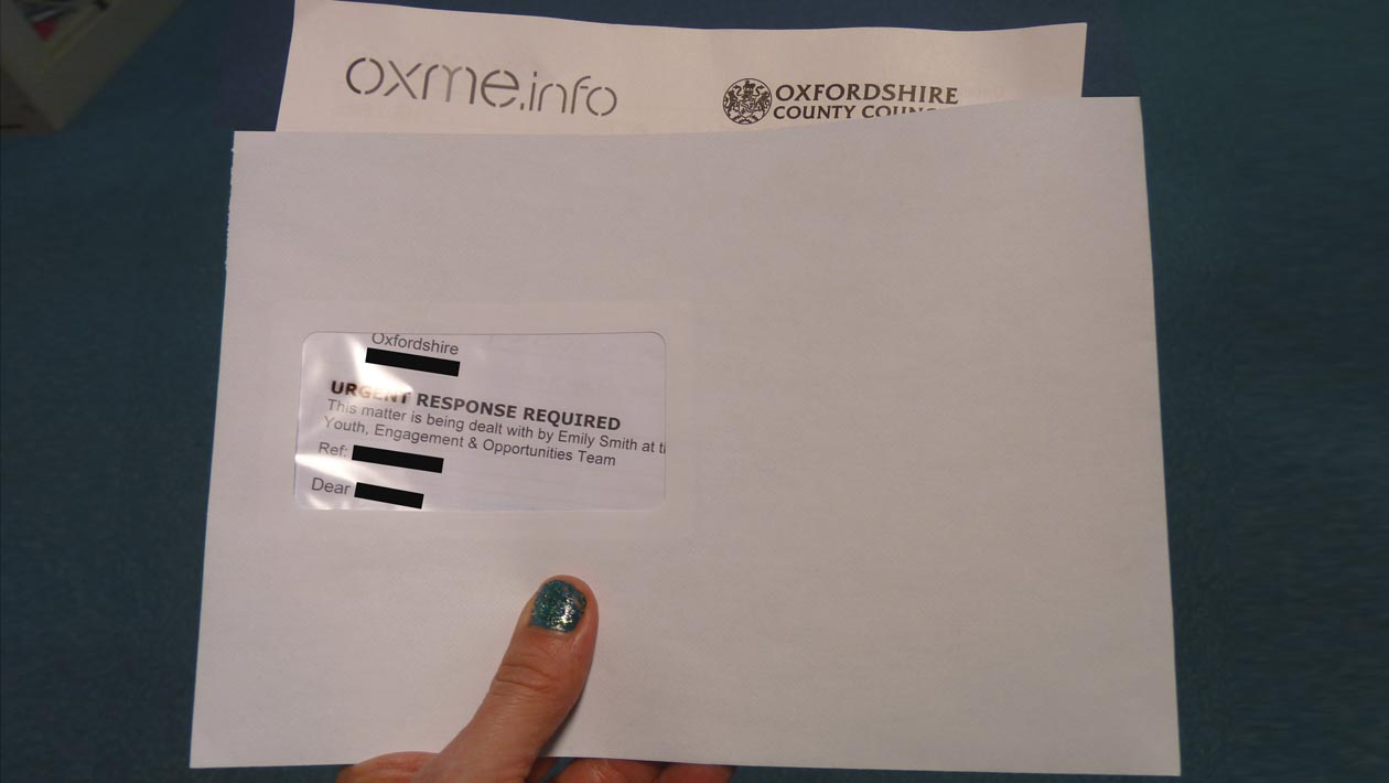 Tracking letter sent out to young people in Oxfordshire