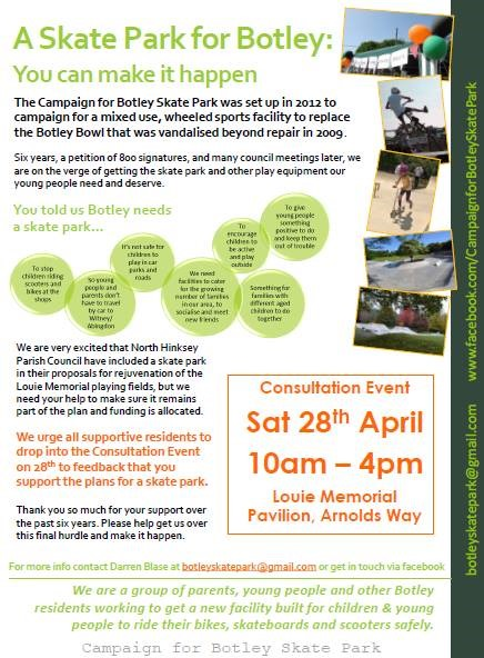 Poster for Botley Skate Park Open Event.